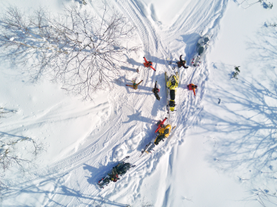 Niseko Snowmobile assisted backcountry tour. Book with Stoked Niseko Hostel. http://stokednisekohostel.com/vendor/snowmobile-assisted-backcountry-tour/
